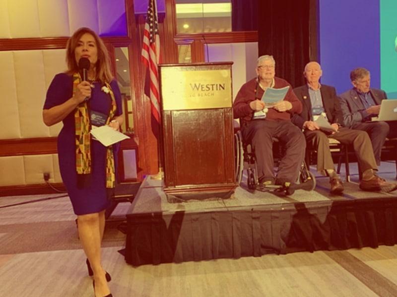 Adriana Lanting speaking to Long Beach Rotarians